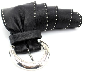Brighton Black Leather Studded Wide Leather Belt Small B31593