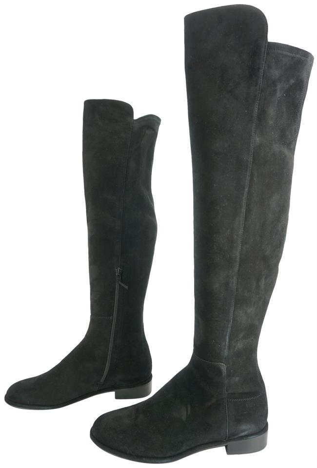 44310e60315 Stuart Weitzman Black Suede Allgood Over The Knee Tall Riding Boots Booties