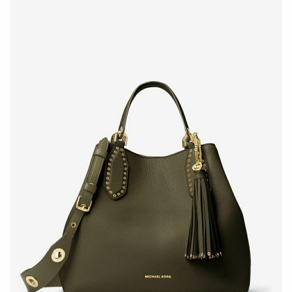 fe630cd9464b3c Michael Kors Brooklyn Large Olive Leather Tote - Tradesy