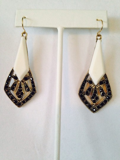 Other NWOT Art Deco Black Crystal & White Dangle Earrings
