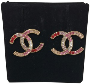 Chanel Chanel Gold/Red/Fushia/Purple Valentine Special CC Logos Earrings