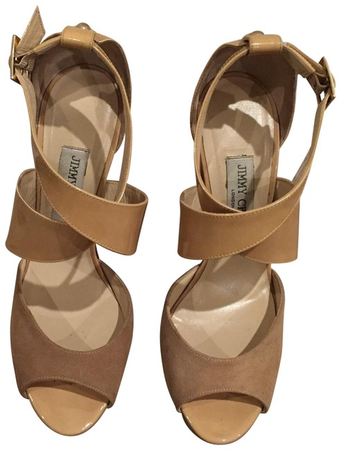 Jimmy Choo Nude Fiery Suede and Patent Sandals Size EU 41 (Approx. US 11) Regular (M, B) Jimmy Choo Nude Fiery Suede and Patent Sandals Size EU 41 (Approx. US 11) Regular (M, B) Image 1