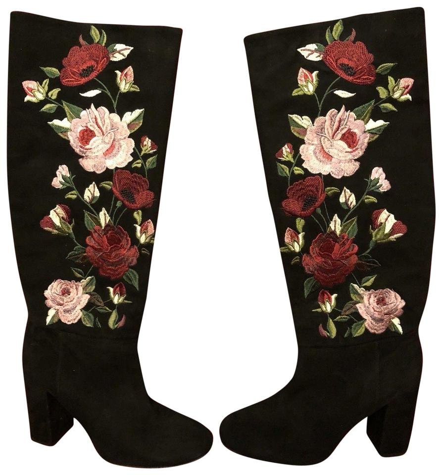 46dc99396c3 Kate Spade Black Multi Greenfield Suede Embroidered Floral Rose Heel ...