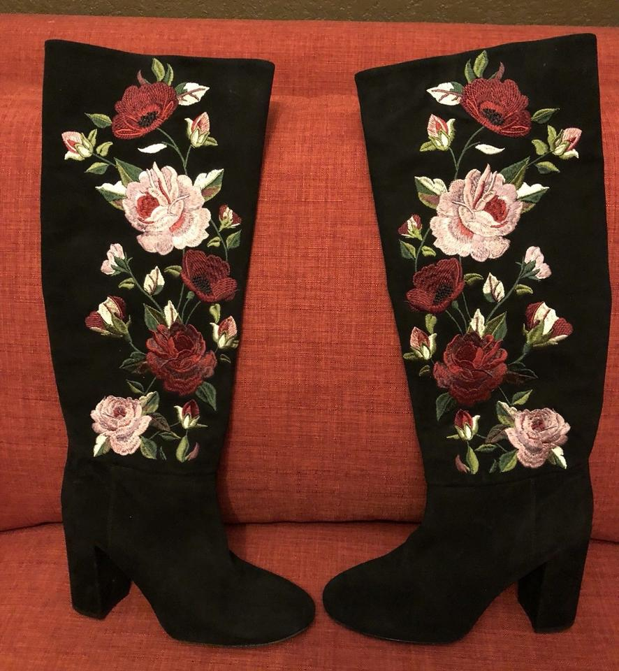 e3772d213c8 Kate Spade Black Multi Greenfield Suede Embroidered Floral Rose Heel Tall  Bo Boots Booties Size US 8 Regular (M