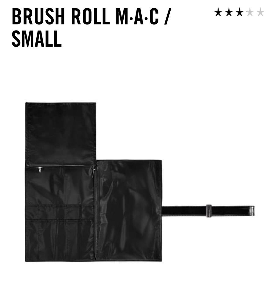 MAC Cosmetics Black Small Makeup Brush Roll Cosmetic Bag 24% off retail