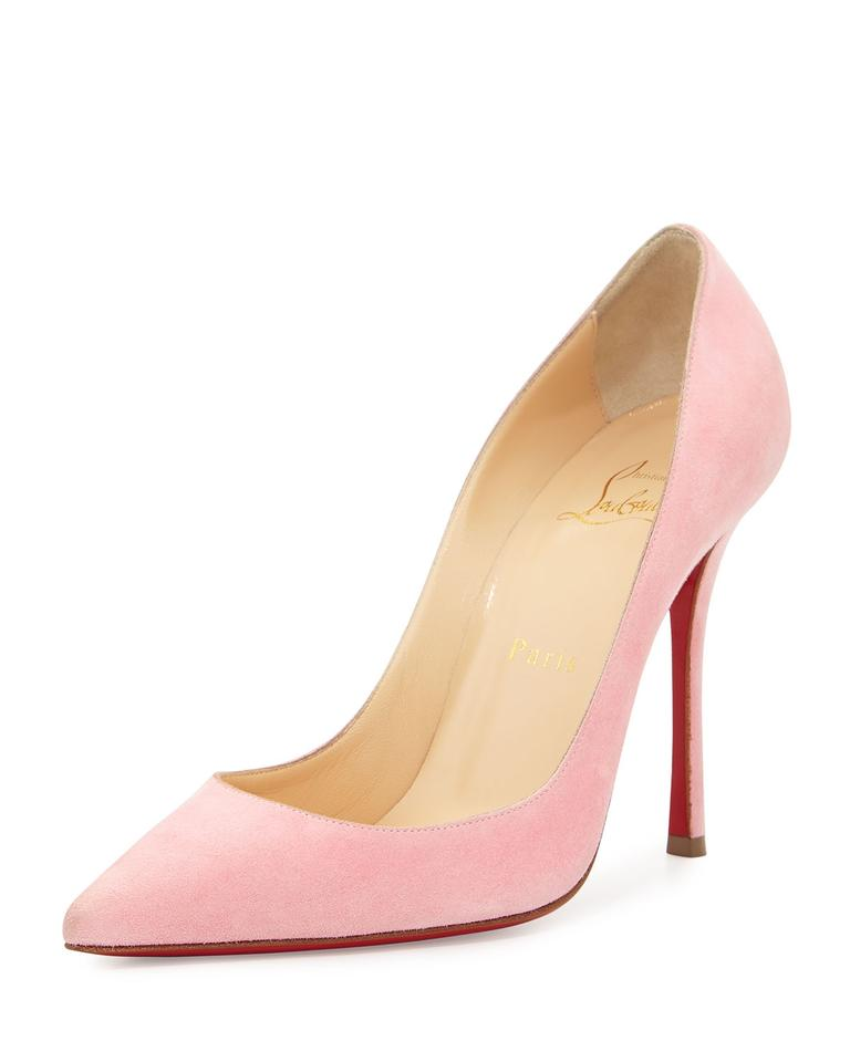 31888a042d6a Christian Louboutin Pink Decoltish Suede 100mm Red Sole Pumps Size ...