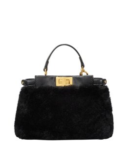 Fendi Shearling Wool Sac Jour Forever Black Clutch
