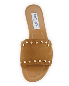 Jimmy Choo Studded Notched Vamp Open Toe Suede Brown, Gold Flats
