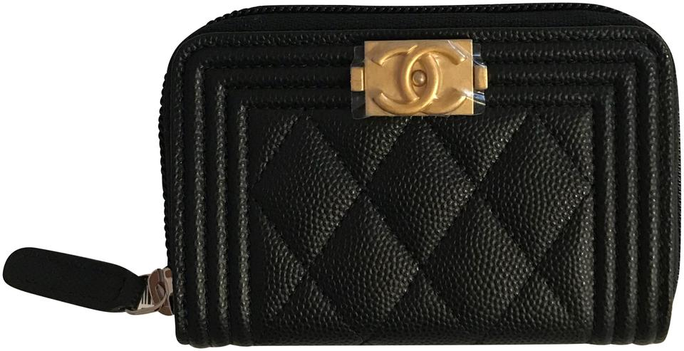 ebfbde49f18a Chanel NWT Boy Zip Around Coin Purse / Card Holder In Black Caviar Leather  With Matte ...