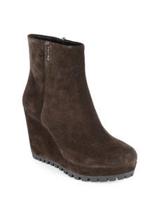 Prada Wedge Suede Snow Brown Boots