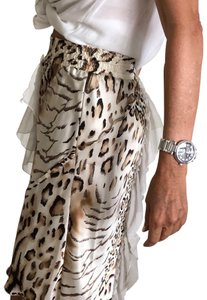 Roccobarocco Animal Print Silk Modern Ruffles Skirt white and brown
