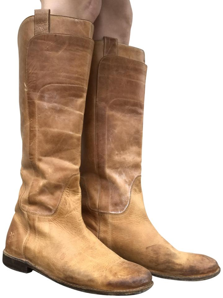 Frye Camel Paige Tall Leather Riding Cognac Brown Calf Leather Tall Boots/Booties fcfba9