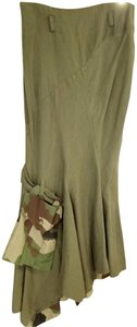Ivan Grundahl Linen Military Maxi Skirt Olive and Camouflage