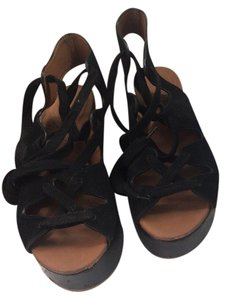 fb248b13d83 See by Chloé Brown Black Liana Wedge Lace Up Sandals Platforms Size ...