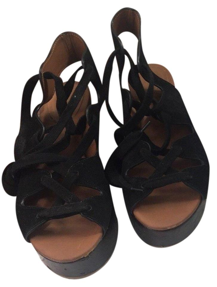 18168c33ed5 See by Chloé Brown Black Liana Wedge Lace Up Sandals Platforms Size ...