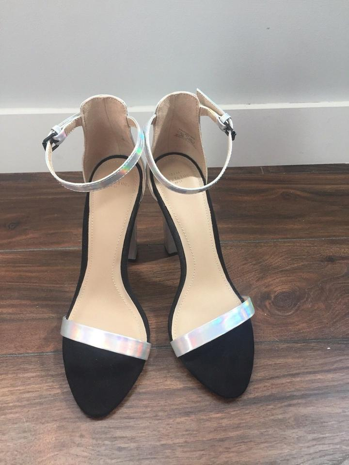 0ba7a25a548 Zara Block Heel Nudist Ankle Strap Two Strap Iridescent Sandals Image 4.  12345