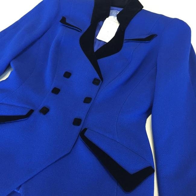 Thierry Mugler Velvet Snaps Vintage Double Breasted Wool Royal Blue Blazer