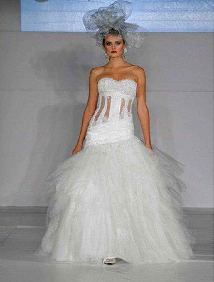 St. Pucchi Ivory with Silver Accents Lace Taffeta and Tulle Arianna ...