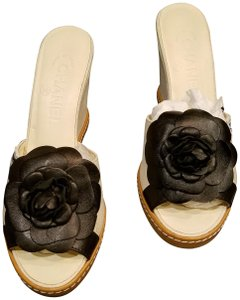 Chanel Bone with Black Leather Chanel Flower Mules