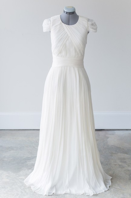 Item - Shades Of Ivory Silk Chiffon Dauphine Modest Wedding Dress Size 8 (M)
