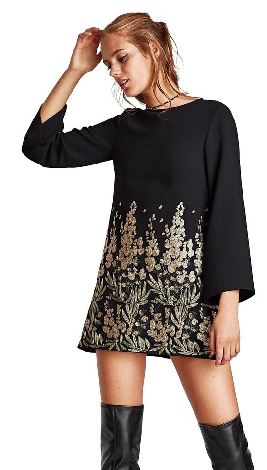 Zara Black Long Sleeve Embellished Embroidered Floral Short Cocktail ...