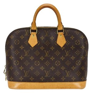 Louis Vuitton Satchel Logo Leather Tote in Brown, Black