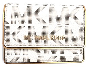 Michael Kors Off white Mk Monogram Card Holder Change Flap Wallet