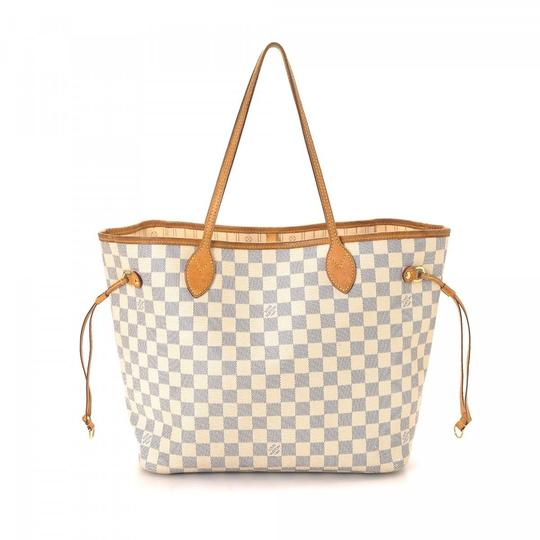 Louis Vuitton Neverfull Mm Damier Azur With Beige Lining White Leather Tote Tradesy