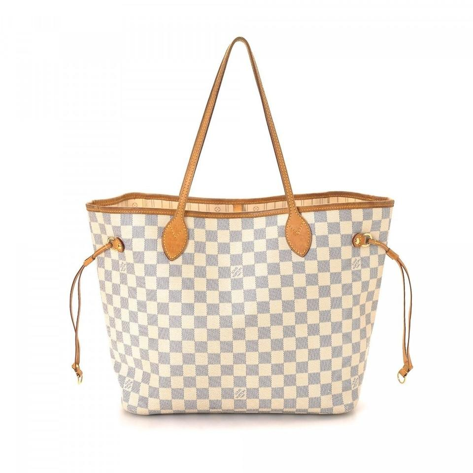 louis vuitton neverfull mm damier azur with beige lining white leather tote tradesy. Black Bedroom Furniture Sets. Home Design Ideas