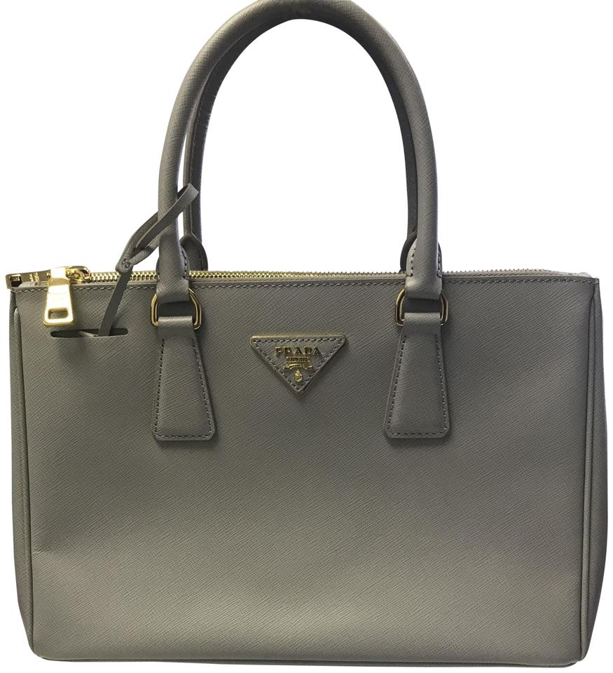 501da8630e72 Prada Double Lux Saffiano Mini Double-zip Tote Grey Leather Cross ...