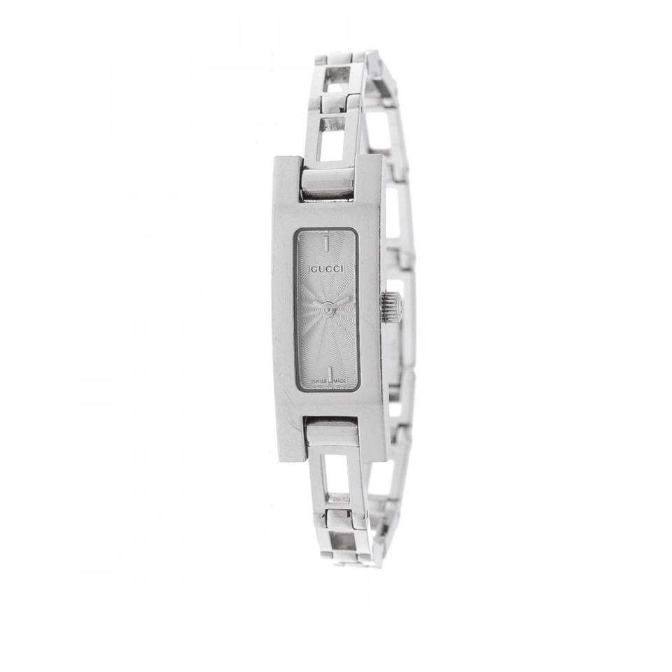 Gucci Silver Vintage 3900l Stainless Steel Open Rectangle Linked Bracelet  Clasp Watch 74% off retail