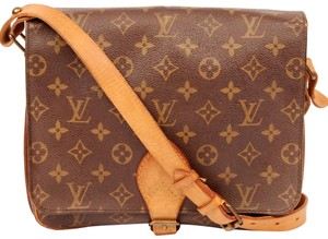 Louis Vuitton Canvas Cartouchiere Gm Leather Vintage Cross Body Bag
