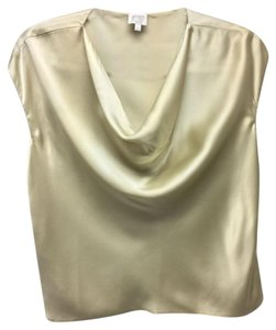 Armani Collezioni Scoop Neck Soft And Drapy Silk Dressy Top Beige