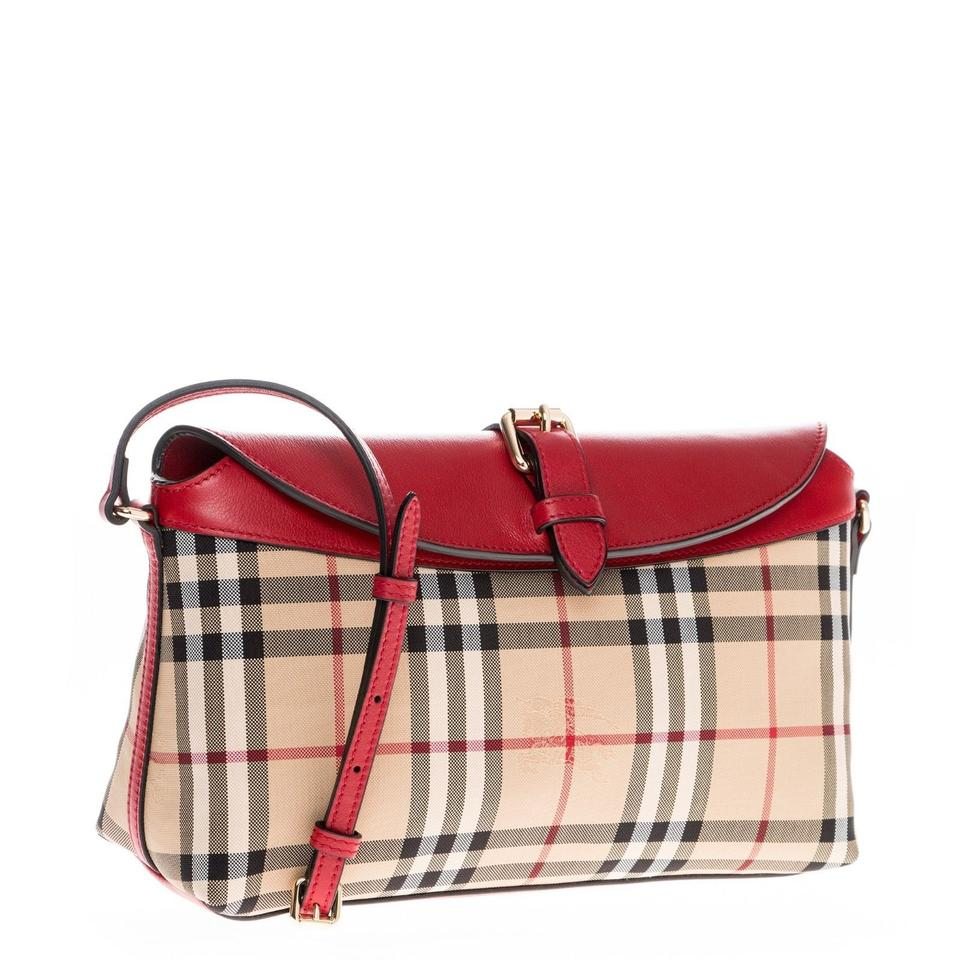 ff69bd5f6a41 Burberry Women s Horseferry Check Small Leather Handbag Red 3942126 Tote -  Tradesy