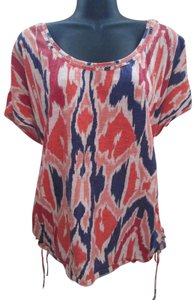 Lane Bryant Ikat Ruched Spring Summer Stretch Top Multicolored