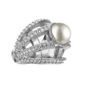 Chanel AUTHENTIC CHANEL 2016 PEARL CRYSTAL SILVER RING 7 BOX
