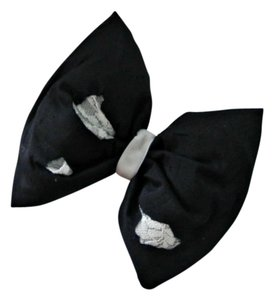 Silk hair bow in black, Dupioni (raw silk) with lace hair bow, Stuffed raw silk hair bow stunning!
