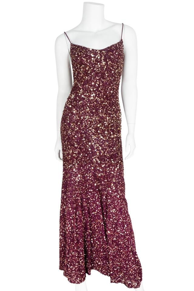 Theia Burgundy Gold Sequin Embellished Evening Gown Long Formal
