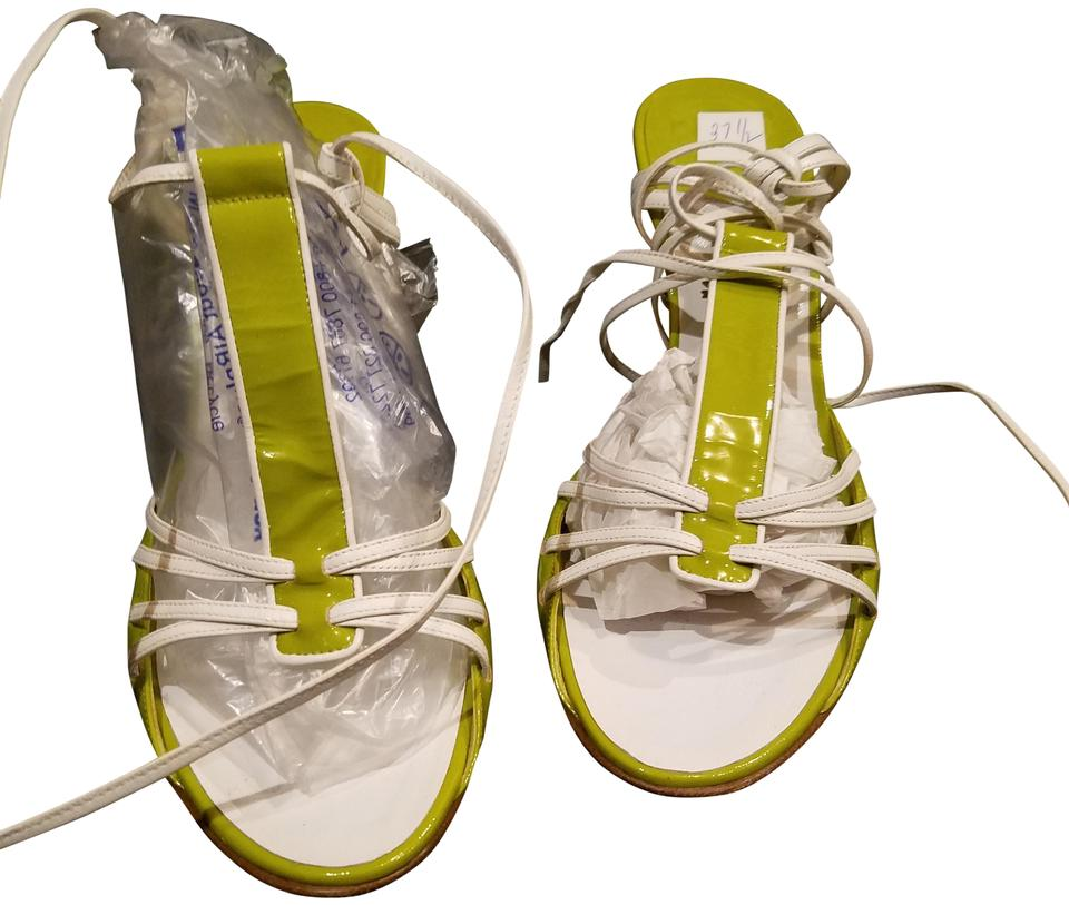 ab1cb070715 Chanel Creamy Kelly Green Patent Leather with White Summer Sandals ...