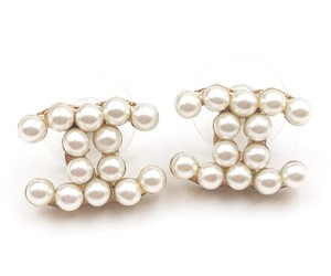Chanel Chanel Gold CC Faux Pearl Piercing Earrings