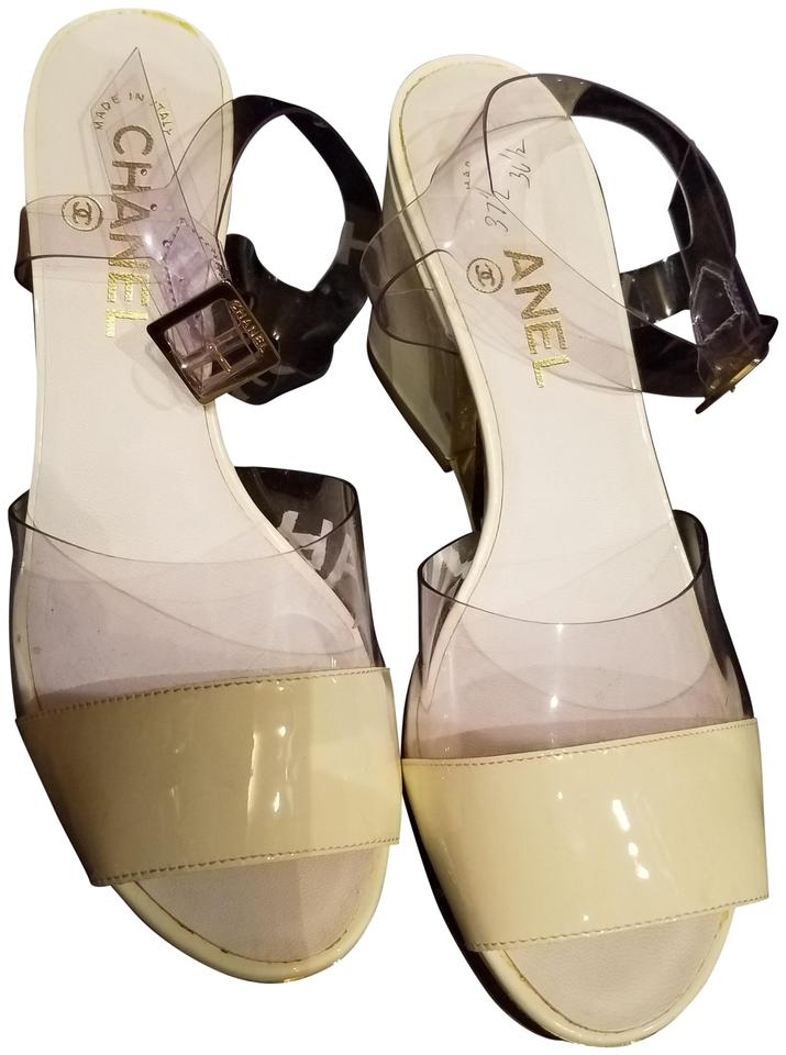 3809e56abbb Chanel Beige Patent Leather with Clear Lucite Black Wedges Size EU ...
