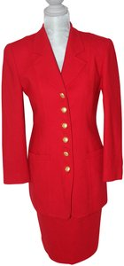 Dior Christian Dior Red Wool Classic Long Jacket & Skirt 'Power Suit'