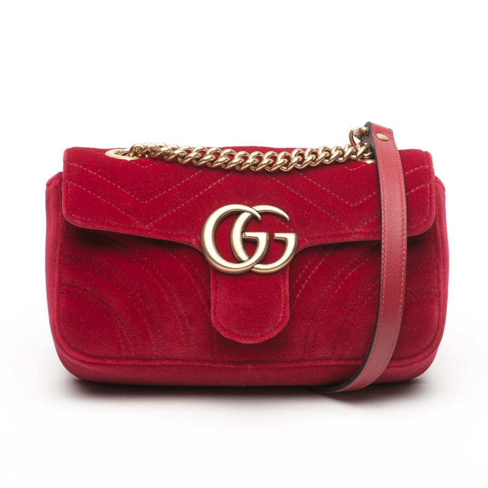 f0171e7dd479 Gucci Marmont Mini Red Velvet with Satin Interior Cross Body Bag - Tradesy