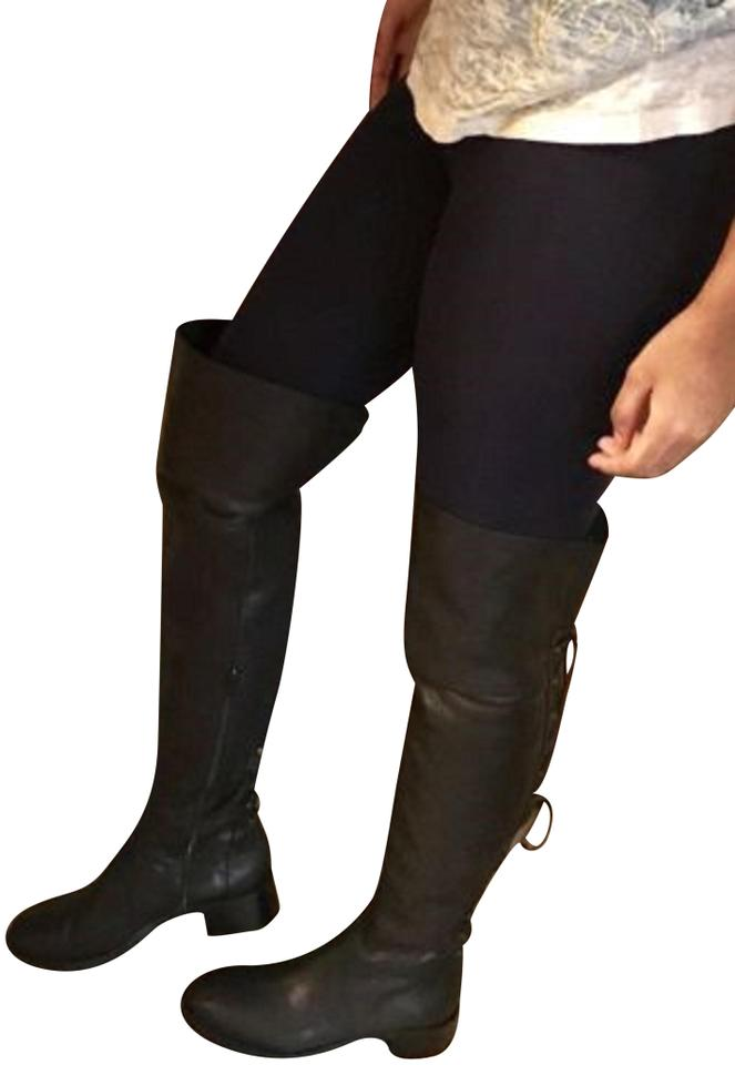 3efadb24f2e DKNY Black Italy Knee High Riding Lace Pepple Leather Boots Booties ...