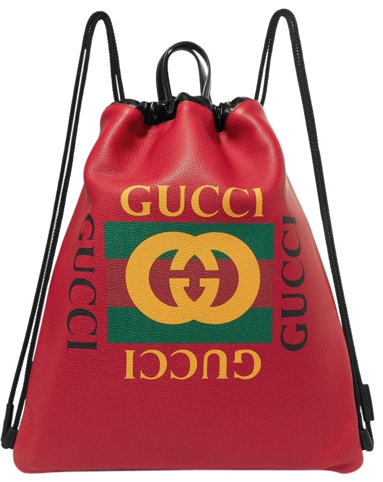 868f27f2c7cc Gucci - Print Drawstring Red Leather Backpack - Tradesy