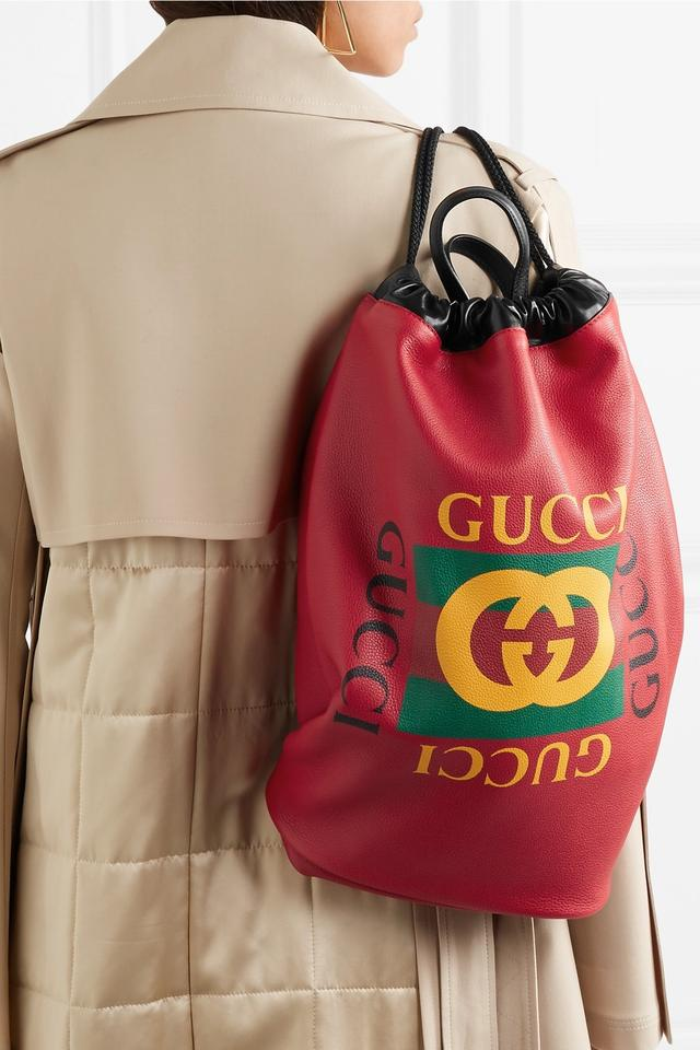 01d3258a05 Gucci Drawstring Print Red Leather Backpack