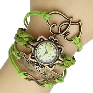 Green Boho Double Heart INFINITY OneDirection Wrap Bracelet Watch