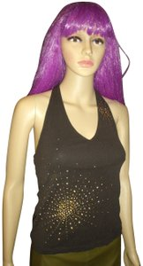 Express Studded Suns Bodycon Gypsy Brown, Gold Halter Top