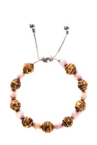 Gucci Pink & Silver Toned Chain Bamboo Bead Bracelet
