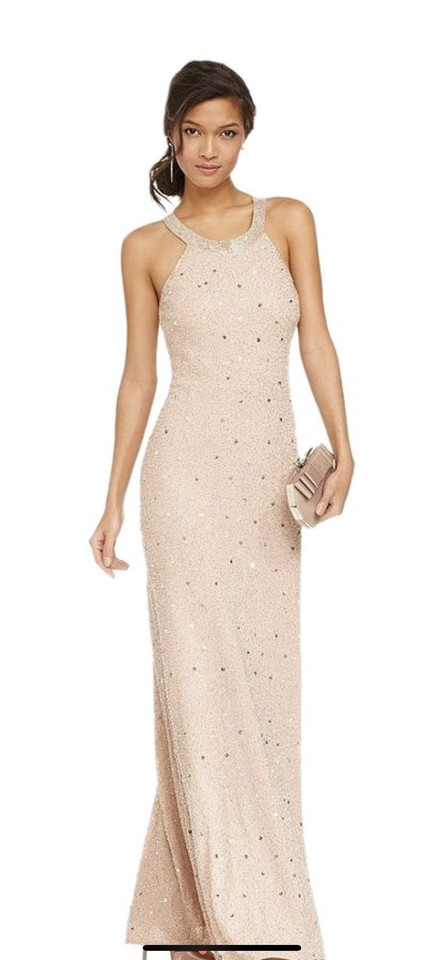 b1c3fdc1f08 Adrianna Papell Pink Sleeveless Beaded Gown Long Formal Dress Size ...